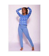 pijama longo em camurça estampado azul claro g08-18 azul claro gg