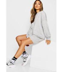 oversized sweatshirt jurk, grijs gemêleerd