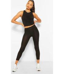 bandage rib racer crop top and leggings set, black
