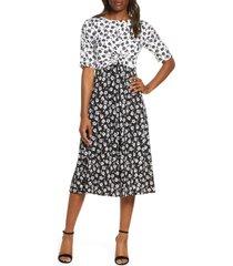 women's vince camuto floral reverse print midi dress