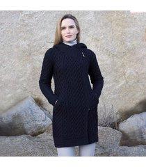 women's navy claddagh aran zipper coat large