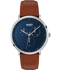 hugo men's #guide ultra slim brown leather strap watch 40mm