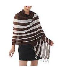 cotton shawl, 'cool stripes in espresso' (thailand)