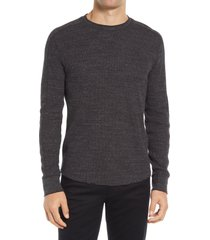 men's vince slim fit stretch cotton thermal long sleeve t-shirt, size small - grey