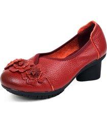 socofy vintage scarpe morbide in cuoio a metà tacco con fiore a manufatto originale