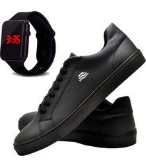 sapatãªnis sapato casual com relã³gio led dubuy t10db preto - preto - masculino - sintã©tico - dafiti