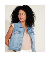 colete jeans feminino cropped com bolsos azul claro