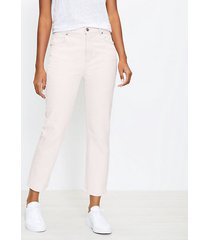 loft curvy high rise straight crop jeans in tender yellow