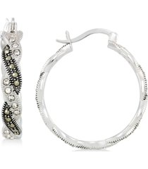 marcasite & crystal hoop earrings in sterling silver