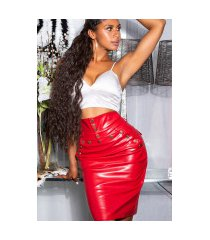 sexy hoge taille faux leder rok rood