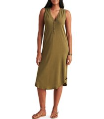 women's faherty annie sleeveless henley midi dress, size medium - green