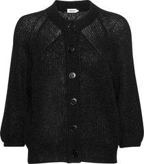 mohair 3/4 sleeve cardigan gebreide trui cardigan zwart filippa k