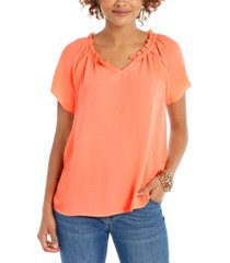style & co crinkle flutter-sleeve top, created for macy's