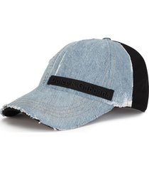 dolce & gabbana logo-patch denim-panel cap - blue