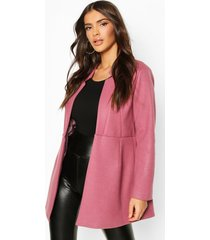 notch neck edge to edge wool look coat, lilac