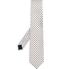 corneliani floral pattern pointed tie - white