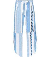 lemlem mizan tie waist striped trousers - blue