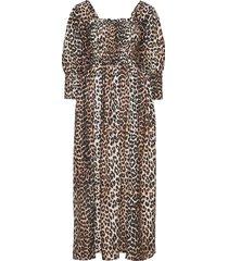 cotton silk maxi dress galajurk bruin ganni