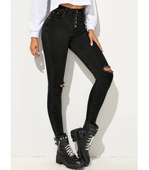 bolsillos laterales negros de cintura alta pantalones