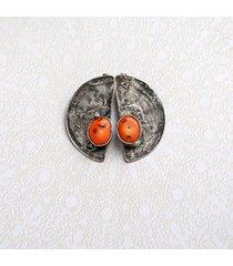 unikatowe klipsy : koral pomarańczowy