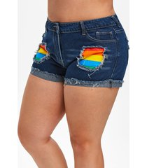 plus size rainbow striped patched ripped denim shorts
