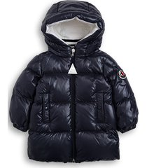 moncler blue nylon down jacket with logo patch