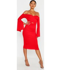 bardot split sleeve rib bodycon midi dress, red