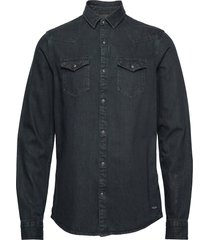 ams blauw denim western shirt in seasonal washes overhemd casual zwart scotch & soda