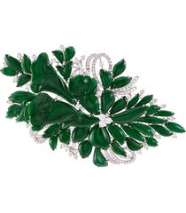 diamond jade 18k white gold floral brooch