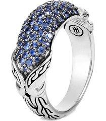 'asli classic chain' sapphire silver ring