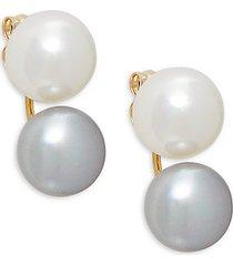 14k gold & 7mm two-tone freshwater pearl earrings