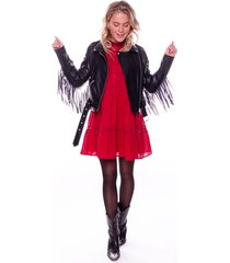 colourful rebel 8054 amanda fringe biker amanda fringe biker jacket black zwart