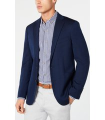 cole haan men's grand. os wearable technology slim-fit stretch navy textured blazer
