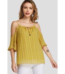 blusa de hombros descubiertos con diseño de lazo amarillo