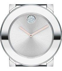 relógio movado feminino aço prateado e blush - 3600702 - feminino