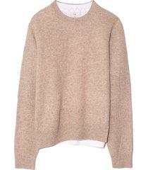 lana layered t-shirt sweater in oatmeal multi
