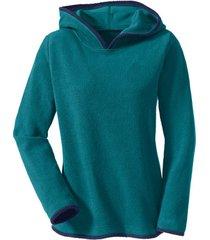 biokatoenen fleece pullover met capuchon, petrol/nachtblauw 40