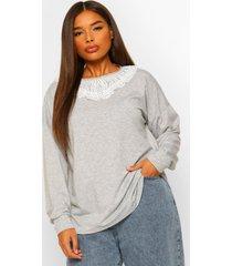 plus oversized sweater met met franjes kraag, grey