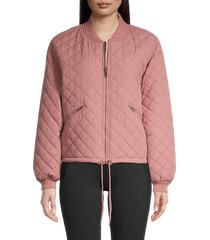 betsey johnson performance women's reversible quilted bomber jacket - bambi - size s