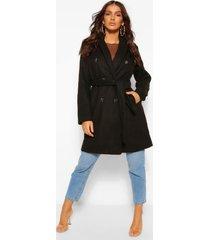 belted wool look coat, black
