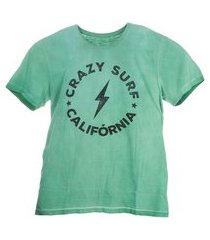 camiseta t-shirt crazy surf verde mini us - verde - 16 verde