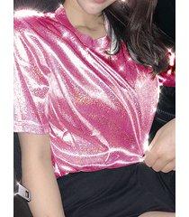 brilho crew cuello camiseta de mangas cortas