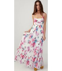 daydream floral pink scoop neck tiered dress