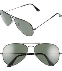 men's ray-ban original aviator 58mm sunglasses - black/ grey green