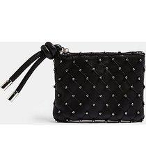 silver diamante string zip top wallet - silver