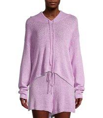 allison new york women's textured knit hoodie - navy - size xs