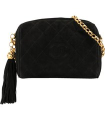 chanel pre-owned 1992 diamond quilt tassel cc shoulder bag - black