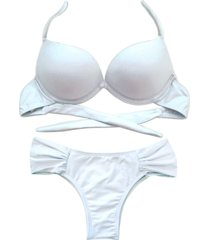 biquíni bojo bolha alça estreita divance calcinha lateral dupla franzida branco