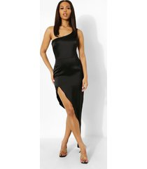 maxi jurk met eén blote schouder en extreme split, black