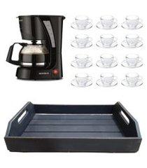 kit 1 cafeteira mondial 110v, 12 xícaras 90 ml com pires e 1 bandeja em mdf preto